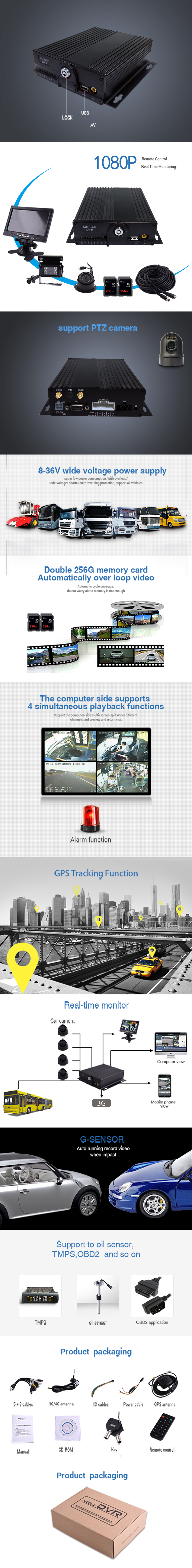 4CH 1080P 720P AHD Bus Taxi Vehicle HDD 3G H.264 MDVR With GPS