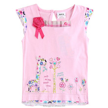 (K6202) best selling pure cotton baby clothing with square-cut collar, stylish girl t-shirt