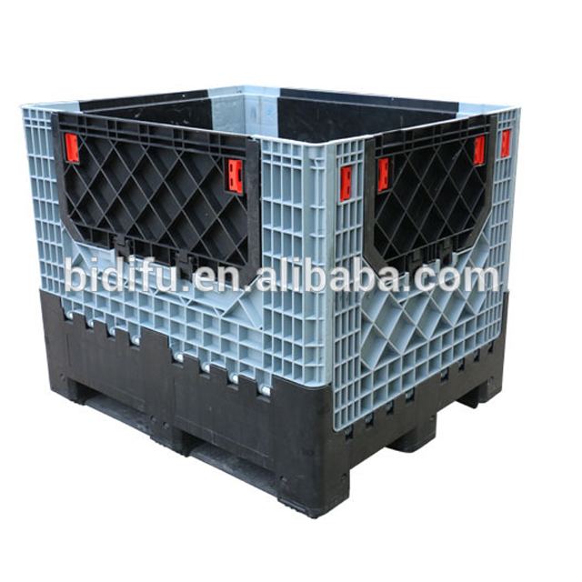 Large collapsible warehouse storage and moving plastic box pallet foldable plastic container pallet price for sale China factory