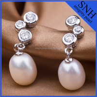 2015 Wholesale diamond natural white drop pearl jewelry earrings