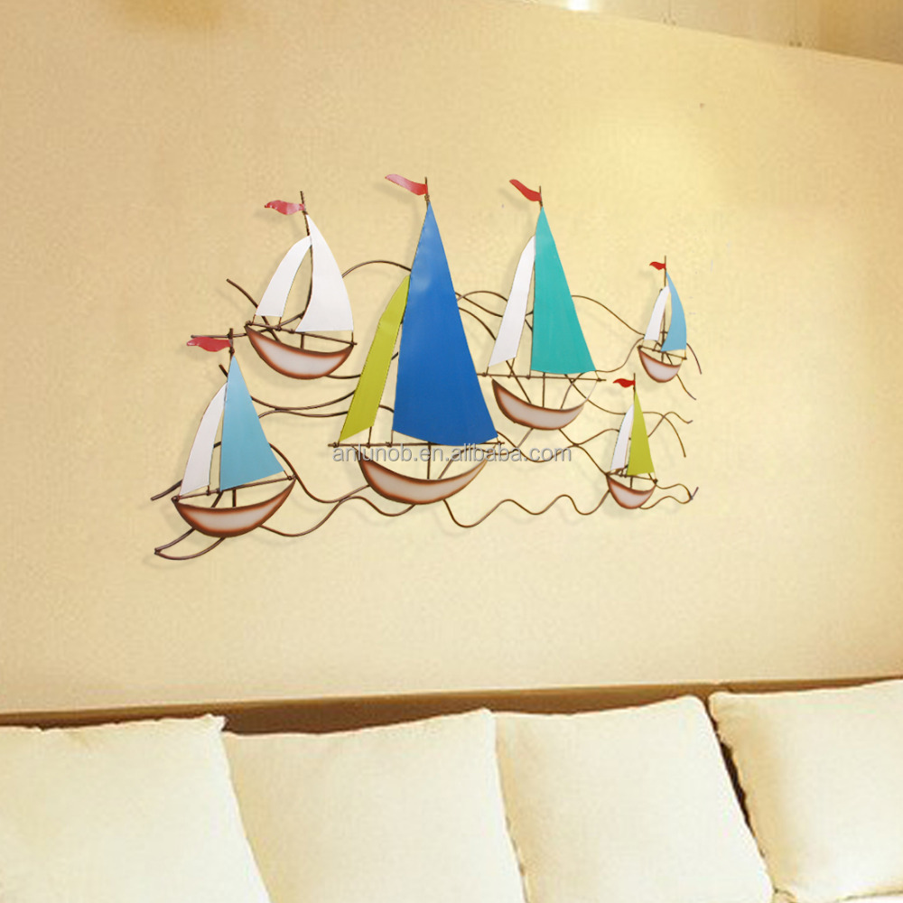 2016 New Products 3d Creative Sailing Ship Metal Art Wall Painting Garden Decor