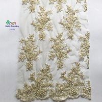 2016 Beaded white French embroidery lace fabric/tulle golden cord hand beaded embroidery lace for wedding dress wholesale