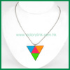 Triangle Pendant with Fluorescent Color Ball Chain Necklace