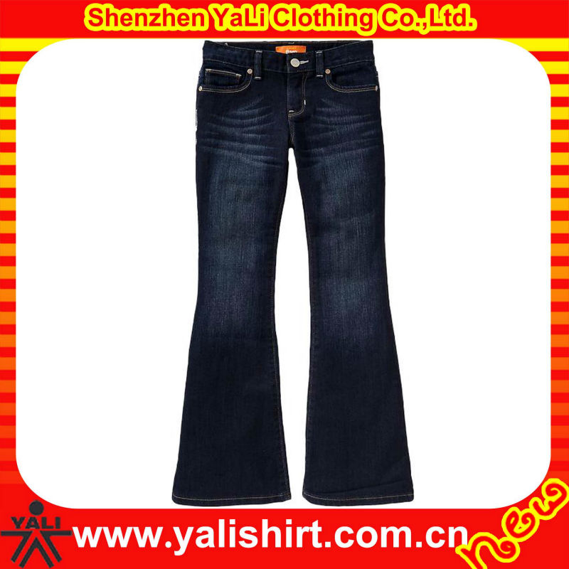 women dark wash flare jeans