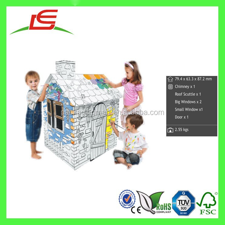 Q1355 China Alibaba Wholesale Customized Paintable Cardboard Large Playhouse Kids