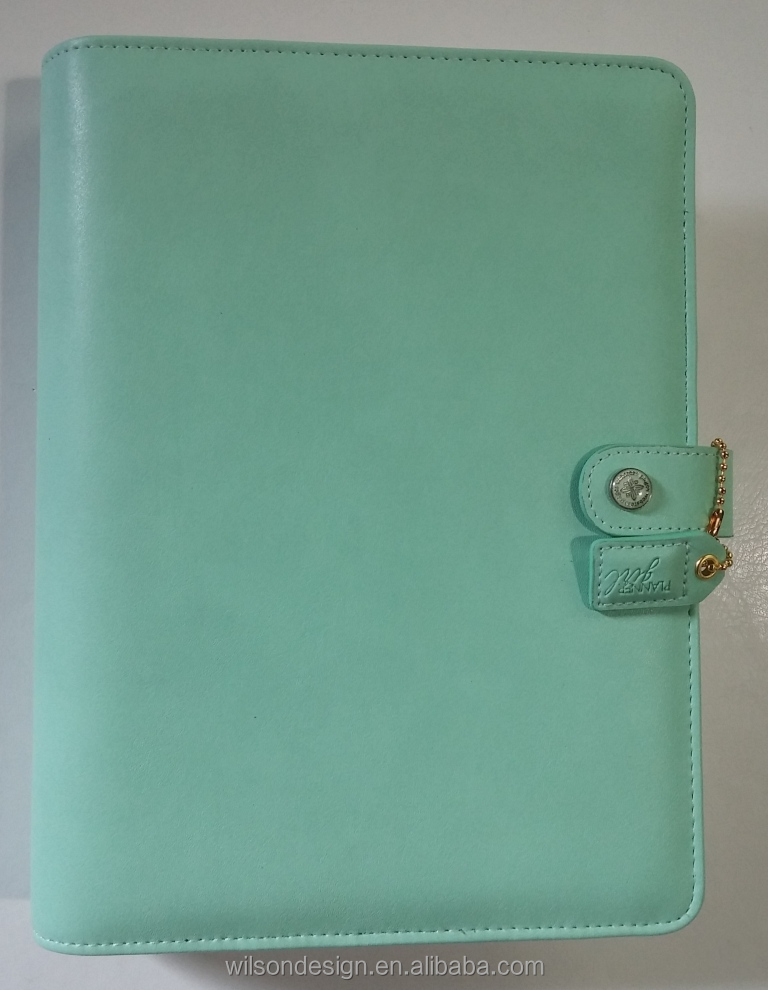 Custom a5 Mint artificial leather organiser planner 6 ring notebook binder