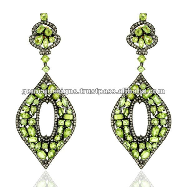 Designer 18k Yellow Solid Gold Natural Pave Diamond Wholesale Peridot Genuine Gemstone Handmade Wedding Dangle Earrings Jewelry
