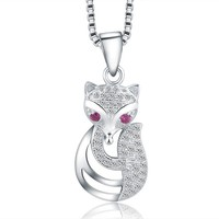 Yiwu Jewelry Factory New Products 2015 Innovative Product Stock Accessories Bright Zircon Designs Silver Fox Pendant