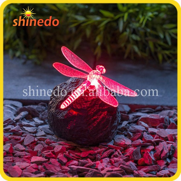 Solar Powered Colour changing Dragonfly/ Butterfly on Rock