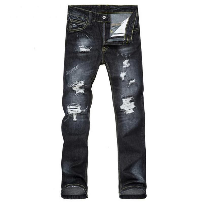 New Fashion Mens Ripped Denim Joggers Washed Slim Fit Distressed Jeans Pants For Man Destroyed Jean