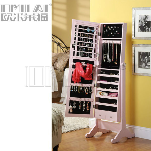 Cheval mirror jewelry storage cabinet
