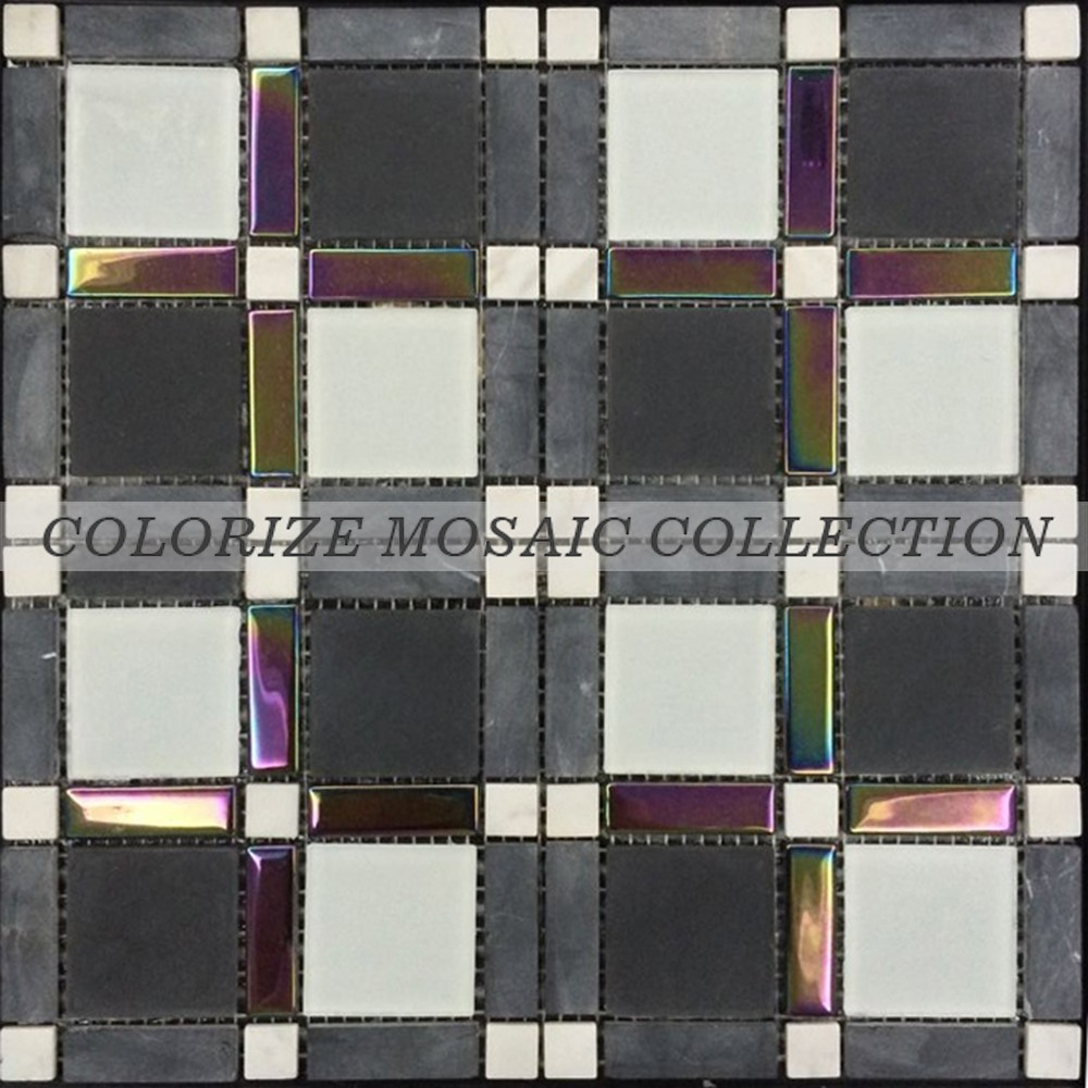 New style crystal mosaic designs glass marble mosaic tile (GY070)