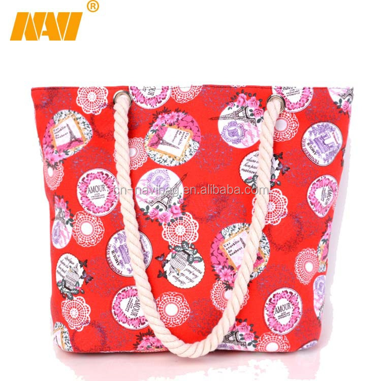 flower printing promotional canvas beach bag