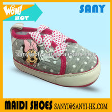 Fashion Designer Gray Cartoon Printed Pattern Of Minnie With Colorful Lace Baby Fabric Casual Shoes