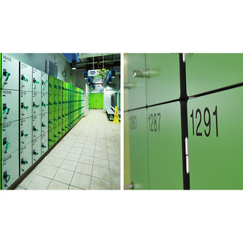 Durable solid HPL stadium locker system
