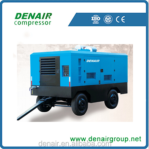 7bar Portable Diesel mobile screw air compressor used in roads