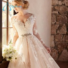 2017 Crystal Button Court Train Lace Appliques Wedding Gowns Bridal Dresses