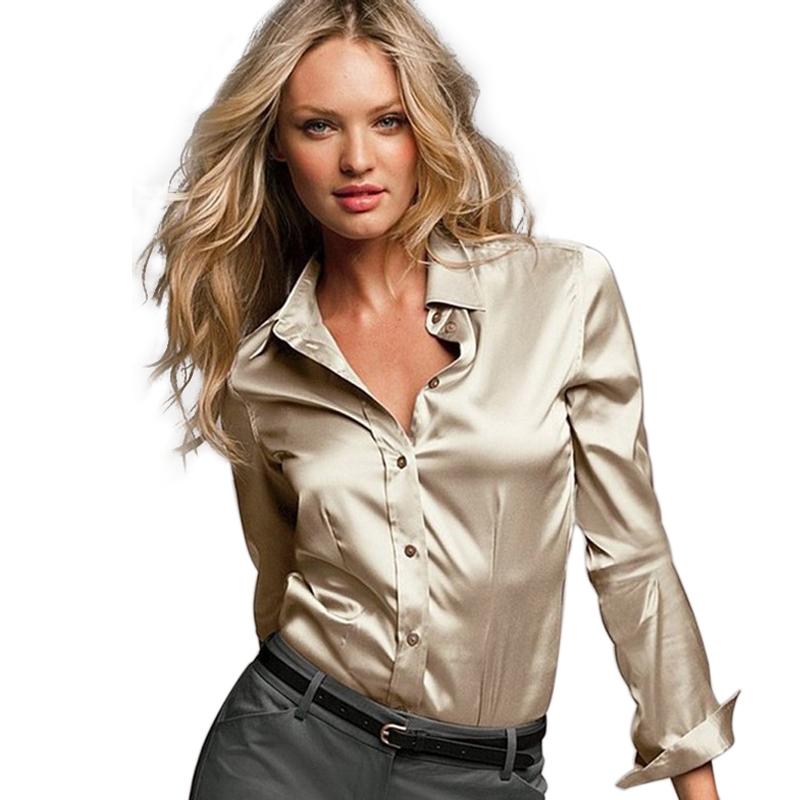 a02f7574e825b Buy S-XXXL women satin silk blouse button ladies silk satin blouses shirt  casual White Black Gold Red long sleeve satin blouse top in Cheap Price on  ...