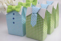 My Little Man Blue Green Bow Tie Birthday Boy Baby Shower Favor Candy box(BF914)