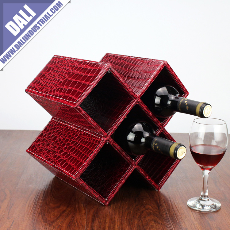 PU leather red wine modern display rack
