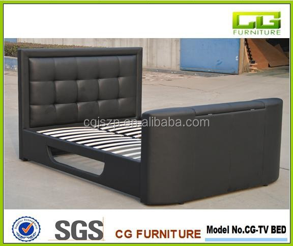 TV BED; FOOTBOARD WITH TV STAND, SIDERAIL WITH DVD STORAGE, BED WITH TV IN FOOTBOARD