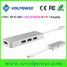 New products 2017 C800 4 ports usb3.0 hub usb 3.0 Type-c usb charging hub for newest macbook 12 inch