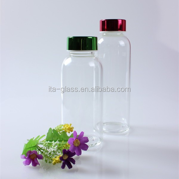 good quality clear borosilicate glass water bottle With round bottom & colorful screw cap