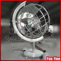 Outdoor Metal 304# Stainless Steel Globe Sculpture for Garden