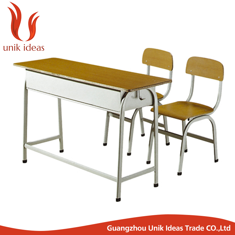 Hot sale factory price school furniture two seater wood study table and chair