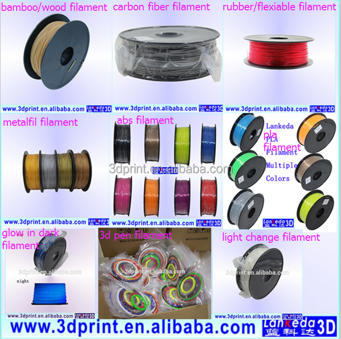High quality 3d printing filament 1.75mm 3mm pla abs ldpe 3d printer filament for 3d print
