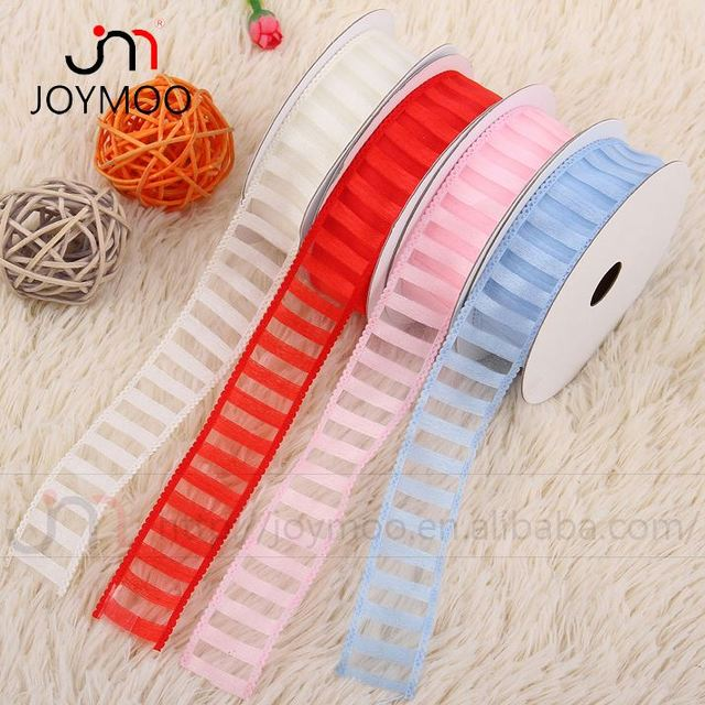 Cheap Professional Solid Color Silk Organza Embossed Ribbon for Decorating Christmas Jingle Bell Ribbon Hair Bows Korker Ribbon