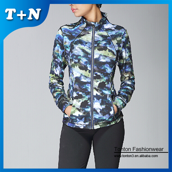 Customized changing color bodybuilding woman yoga jacket with zipper