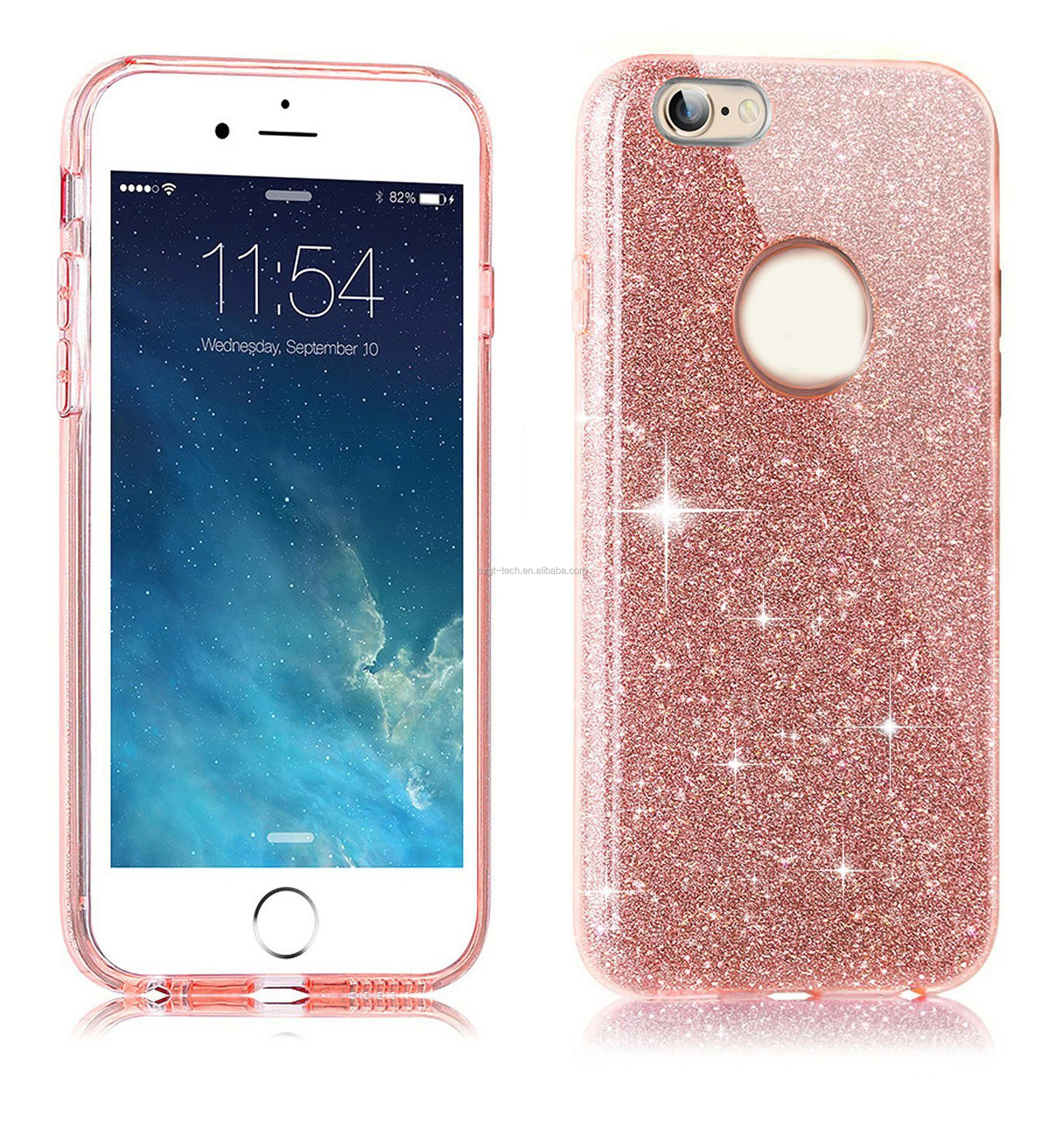 Fashion Phone Accessories Soft TPU Sparkling Shining Bling Glitter customizable phone cases For iPhone 7 7Plus
