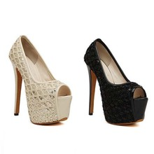 SA4128 sexy sandals newest peep toe dress shoes sequins high heels