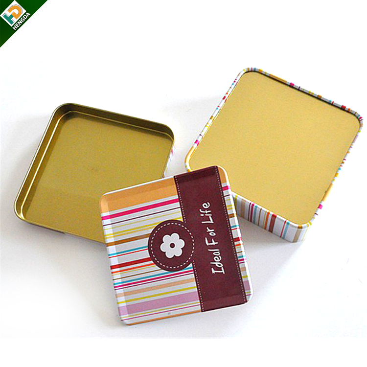 square metal tin coaster set