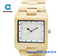 Luxury vogue wood watches Collection New Natural African zebra wood Watch Men Square Face Wooden Watch Calendar In Gift box