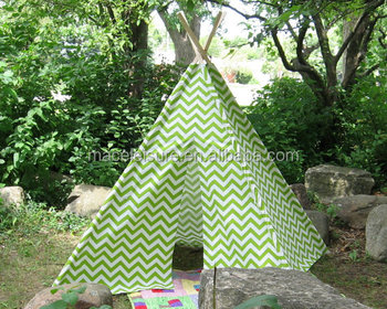 Chevron Play Teepee Tent, Kids Indian Teepee Tent with wooden poles