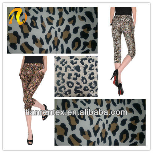 100% Polyester 4 way strech Leopard Printing Spandex Fabric For Ladies dress