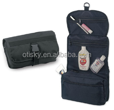 Folding hanging travel toiletry bag