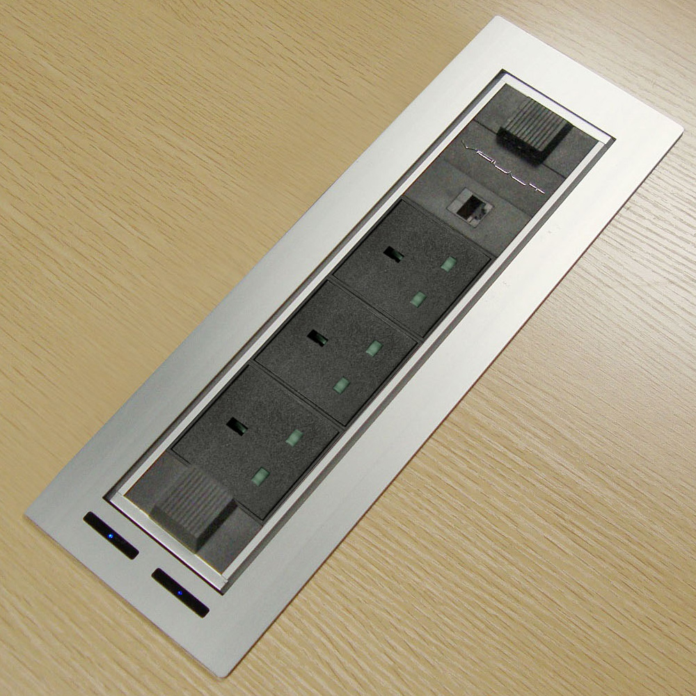 3 UK Power flip up Cable Box socket for Office Furniture/Mutimedia turning socket motorized flip up desktop socket