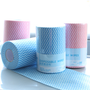 Manufacturer Eco-friendly spunlace 15x46cm nonwoven household cleaning disposable wipes fabric tissue roll