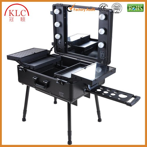 Cosmetic trolley case with lights mirror aluminum trolley makeup case support tall foot chair