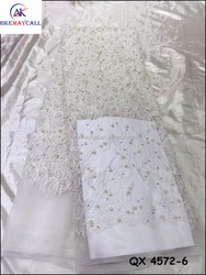 2016 wedding dress beaded lace fabric handwork beads tulle french lace white embroidered QX 4572-6
