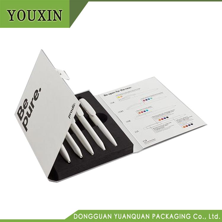 Black and White Design Custom Logo Printed Ball Pen Packaging Box with Flip Top Cover