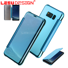 Hot selling clear view leather mirror mobile phone flip case for samsung galaxy S8