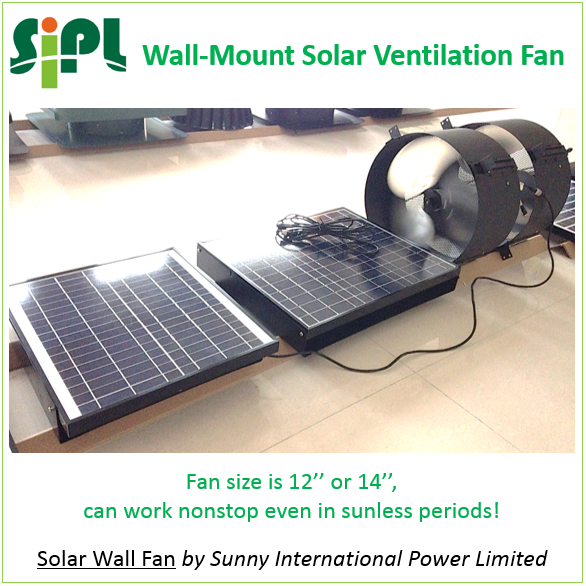 Heat Extractor Fan : Wall mounted heat extractor with battery solar air exhaust