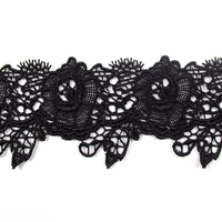 6cm wide China manufacture black GPO lace trim embroidery crochet lace