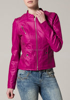 pink fashion lady leather jackets ladies jacket