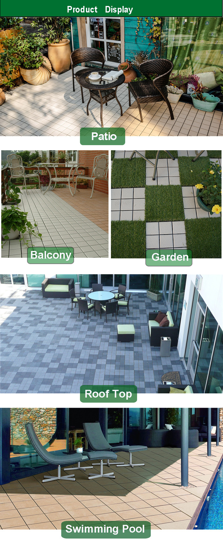 Ce Certificated interlocking outdoor deck tile From Foshan