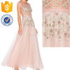 Nude Floral Sheer Embellished Sheer Wedding Maxi Gown For Ladies Manufacture Wholesale Fashion Women Apparel (TF0738D)